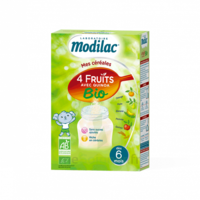 Modilac Céréales Farine 4 Fruits quinoa bio à partir de 6 mois B/230g à AMBARÈS-ET-LAGRAVE
